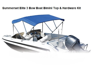Summerset Elite Sunbrella 3 Bow Bimini Top with Hardware