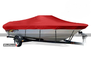 WindStorm Cover for V Hull Runabout Boat with Windshields & Bow Rails